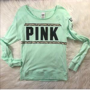 VS PINK seafoam green long sleeve cheetah print